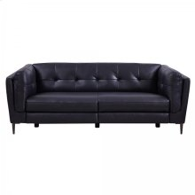 Primrose Navy Contemporary Top Grain Leather Power Recliner Sofa with USB