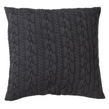 Oversized Charcoal Grey Cable Knit Acid Wash Floor Pillow with Leather Handle