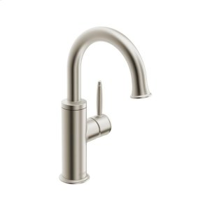 Classic single-hole side-lever basin mixer with pop-up, brushed nickel Product Image