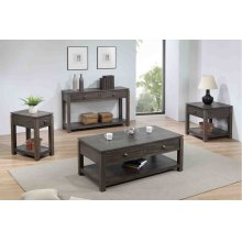 DLU-EL1602-03-04-08  Coffee  Console and End Table Set with Drawers and Shelves  Gray