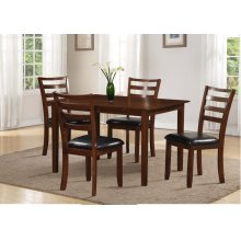 Brown 5pc Dining Set - Black PU Seat