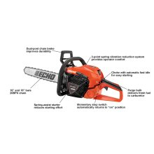 Mid-size chain saw featuring more power, and lighter weight.