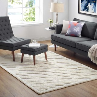 Whimsical Current Abstract Wavy Striped 5x8 Shag Area Rug in Ivory and Light Gray