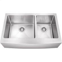 "Stainless Steel (16 Gauge) Fabricated Farmhouse Kitchen Sink Unequal Bowls. 304 SS with Satin Finish. Overall Measurements: 35-7/8"" x 20-3/4"" x 10""."