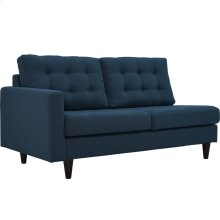 Empress Left-Facing Upholstered Fabric Loveseat in Azure