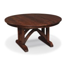 "B&O Railroade Trestle Bridge Round Single Pedestal Table, B&O Railroade Trestle Bridge Round Single Pedestal Table, 72"", 1-18"" Sliding Butterfly Leaf"