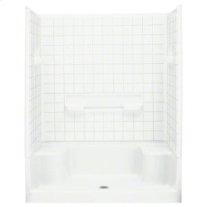 "Advantage™, Series 6204, 60"" x 34"" x 76"" Seated Shower with Age in Place Backers - White Product Image"