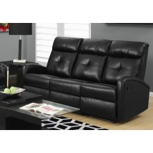 RECLINING-SOFA BLACK BONDED LEATHER