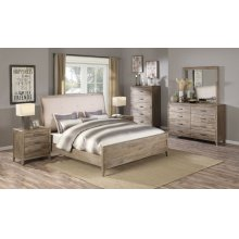Emerald Home 6 Piece Set Torino Weathered Brown Queen Bed, Dresser, Mirror, Chest, and 2 Nightstands