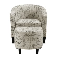 Barrel Chair & Ottoman - French Script