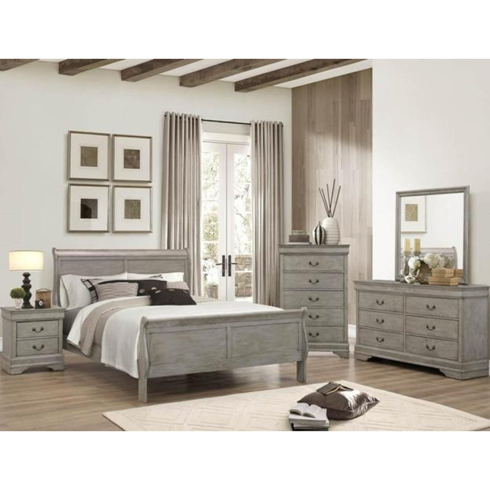 Louis Philip Grey Queen Bedroom Set