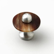 Satin Pewter & Brown Cattle Horn Cabinet Knob - 019