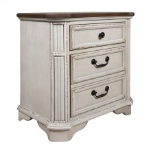 2 Drawer Night Stand, Available in Antique White Finsih Only.