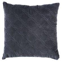 Grey Diamond Top Stitch Velvet Pillow