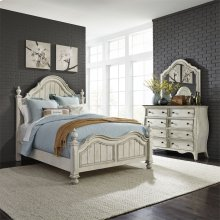 Queen Poster Bed, Dresser & Mirror