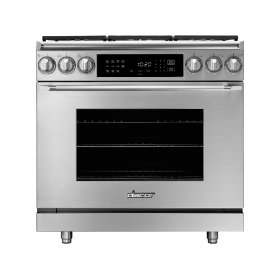 """36"""" Heritage Dual Fuel Epicure Range, Silver Stainless Steel, Natural Gas/High Altitude"""
