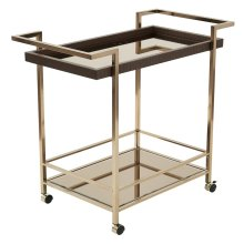 Isabella Wine Cart With Bronze Glass Top In Champagne Metal Frame