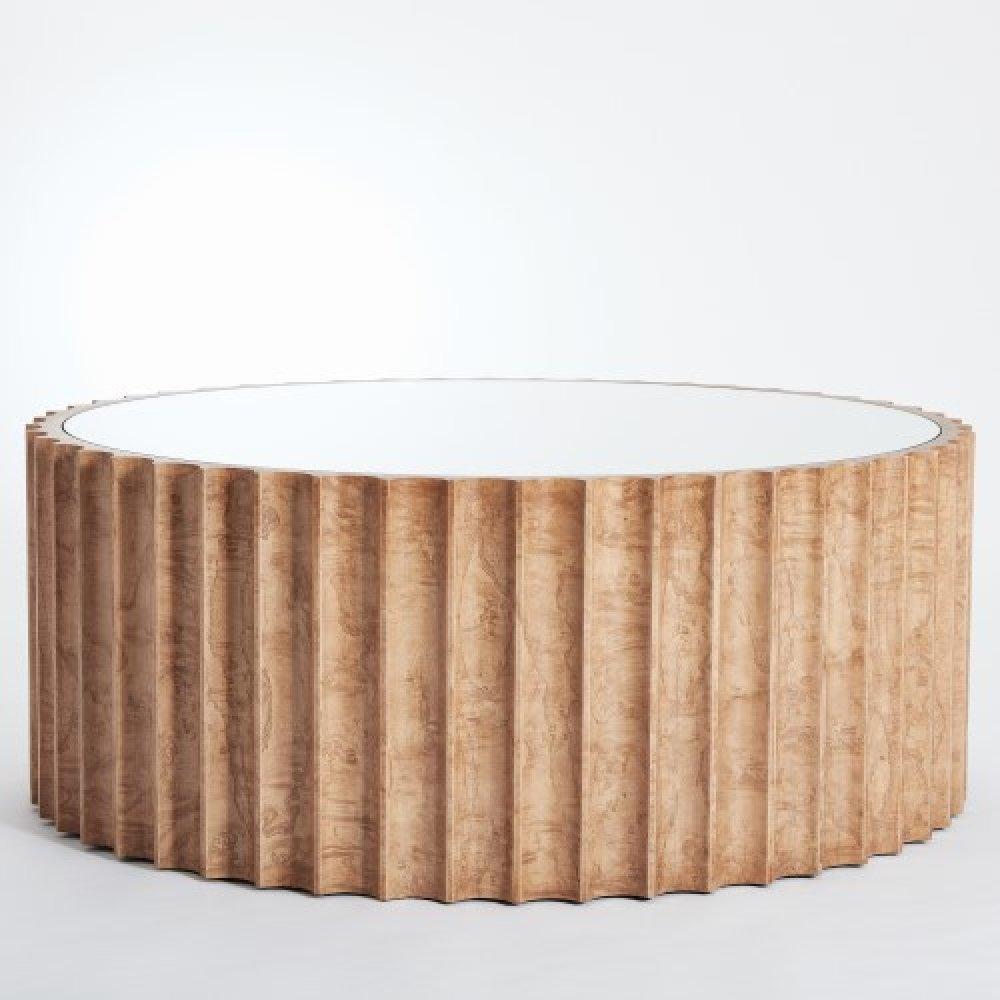 Reflective Column Cocktail Table-Olive Ash Burl