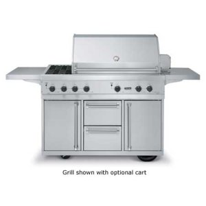 """Stainless Steel 53"""" Ultra-Premium T-Series Grill with Side Burners - VGBQ (53"""" wide with three standard 25,000 BTU burners and double side burners (LP/Propane))"""