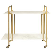 Marble Shelf Rolling Bar Cart in Matte Gold - Base Only