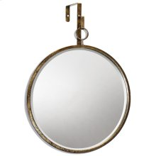 HAILE MIRROR- ROUND  Antique Gold Finish on Metal Frame  Plain Glass Beveled Mirror
