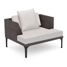 "42"" Outdoor Dark Grey Rattan Single Sofa Lounger, Upholstered in COM"