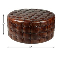 Leather Tufted Ottoman