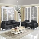 Empress Sofa and Armchairs Set of 3 in Black Product Image