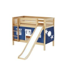 Low Bunk Bed with Straight Ladder, Slide & Curtain : Twin : Natural : Slat
