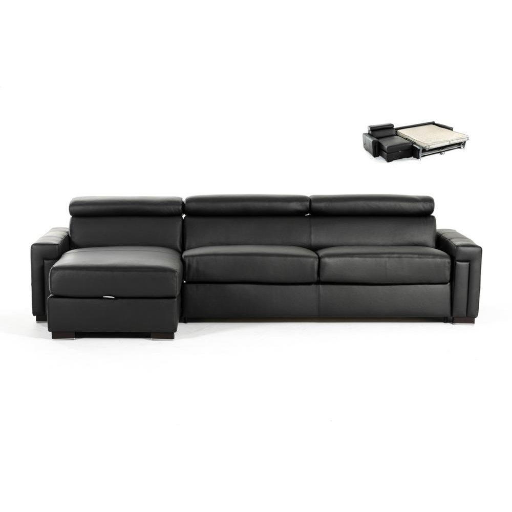 Estro Salotti Sacha Modern Black Leather Reversible Sofa Bed Sectional w/ Storage