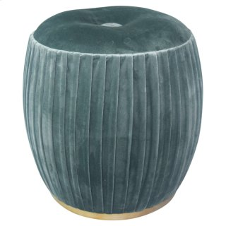 Bianca Tufted Round Ottoman, Emerald Green/Gold