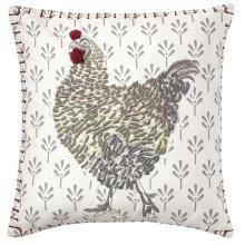 Coq-A-Doodle Pillow, WHITE, 18X18