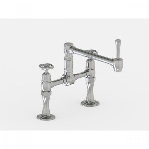 """Brushed Stainless - Deck Mount 8 7/8"""" Articulated Single Swivel Spout with Metal Wheel Product Image"""