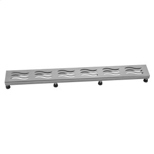 """Brushed Stainless - 32"""" Channel Drain Wave Grate Product Image"""