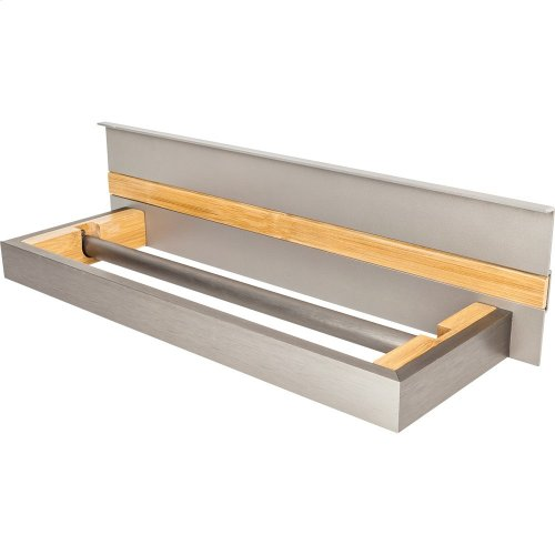 "Hanging Paper Towel Holder for Smart Rail Storage Solution. Use with Either SRSS999-LED or SRSS999 Smart Rail. Stylish Brushed Aluminum Finish with Bamboo Accent. 15-3/4"" x 5-3/16"" x 4"""