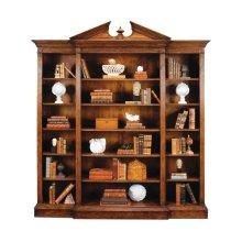 Triple Breakfront Walnut Open Bookcase with Pediment