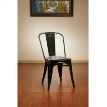 Bristow Metal Chair With Vintage Wood Seat, Black Finish Frame & Ash Crazy Horse Finish Seat, 4 Pack
