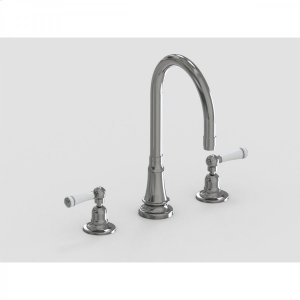 "Brushed Stainless - Deck Mount 7"" Swivel Bar Faucet Spout with White Ceramic Lever Product Image"