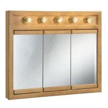 "Richland Lighted Tri-View Wall Cabinet Mirror, 36"" Nutmeg Oak #530618"