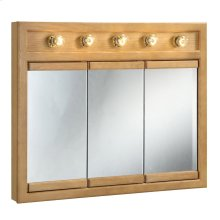"Richland Lighted Tri-View Wall Cabinet Mirror, 36"" Nutmeg Oak #530618"