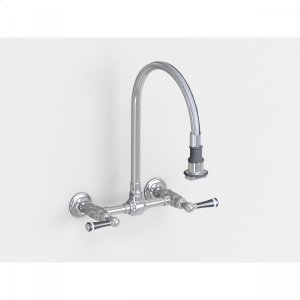 """Brushed Stainless - Wall Mount Pull-Off Spray with 10"""" Swivel Spout with Black Ceramic Lever Product Image"""
