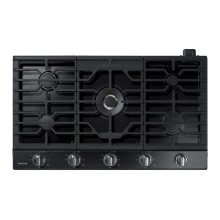 "36"" Gas Cooktop with 22K BTU Dual Power Burner in Black Stainless Steel"