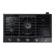 """36"""" Gas Cooktop with 22K BTU Dual Power Burner in Black Stainless Steel"""