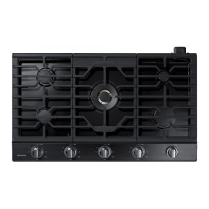 """36"""" Gas Cooktop with 22K BTU Dual Power Burner in Black Stainless Steel Product Image"""
