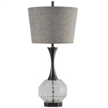 DRAPER TABLE LAMP  Black Finish on Steel and Clear Glass Body with Steel Base  Hardback Shade  15
