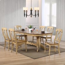 DLU-BR4296-C50-PW7PC  7 Piece Double Pedestal Extendable Dining Set with Napoleon Chairs