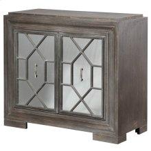 Hex Filigree  38in X 17in X 34in  Two Door Cabinetv with Plain Mirror Panel Doors Made of Mdf & W