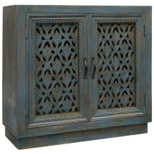 River Water Cabinet  36in W. X 16in D. X 35in Ht.  Ornate Carved Jalli 2 Door Cabinet in Patina Bl