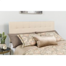 Bedford Tufted Upholstered King Size Headboard in Beige Fabric