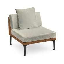"32"" Outdoor Tan Rattan 1 Seat Centre Sofa Sectional, Upholstered in Standard Outdoor Fabric"